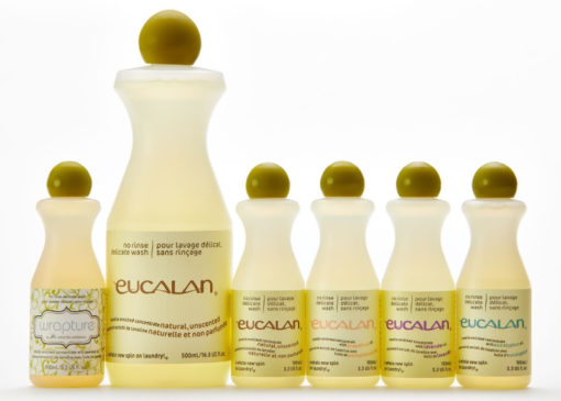 Eucalan Delicate Wash Bottles (from left to right); small Wrapture, large Natural, small Natural, small Grapefruit, small Lavender, small Eucalyptus